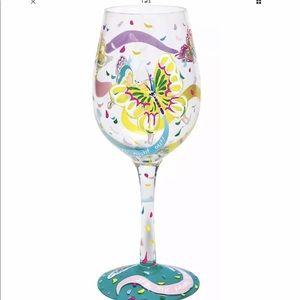 "Designs by Lolita ""Butterflies"" wine glass 15 oz"
